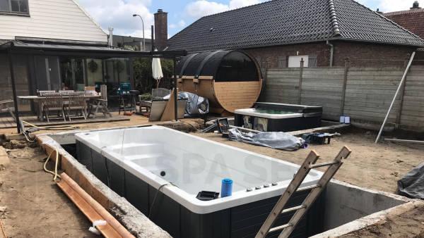 Plaatsing van een Allseas spa en zwemspa in Lokeren België