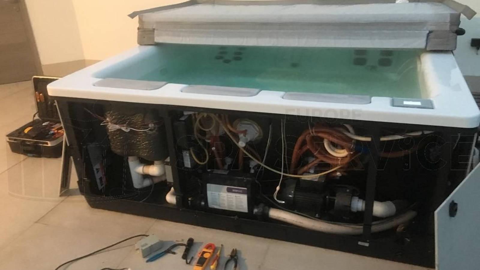 Ozonator vervangen en algehele controle van een Villeroy & Boch Just Silence spa in Knesselare België