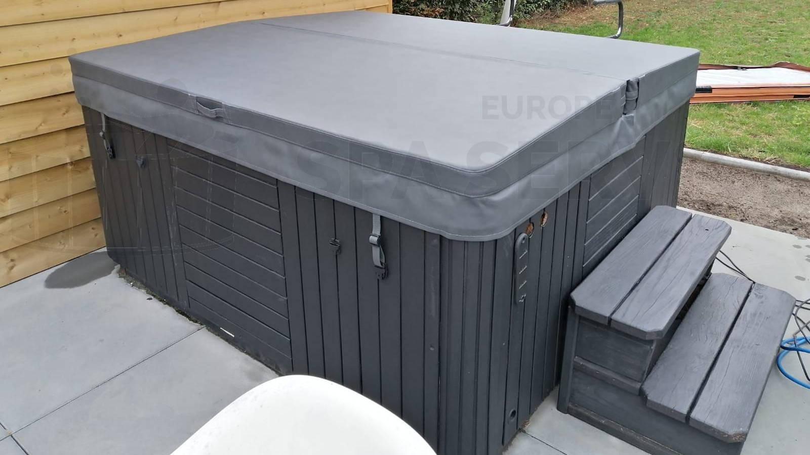 Plaatsing van een nieuwe spa cover op een spa in Zonhoven België